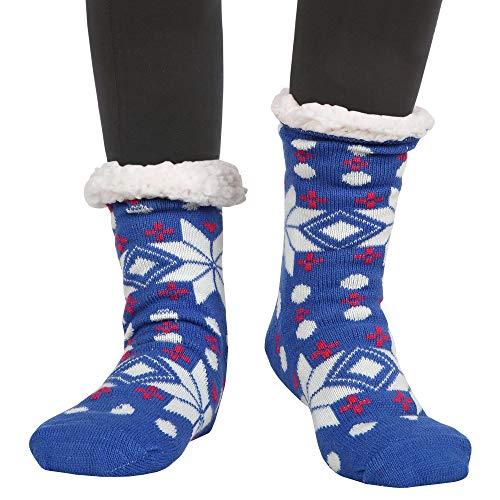 (Womens Winter Thermal Snowflake Fleece Lining Fuzzy Warm Indoor Home Socks)