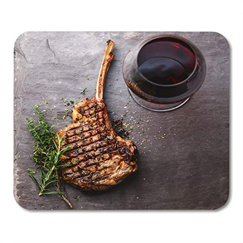 (Boszina Mouse Pads Above BBQ Grilled Beef Barbecue Veal Rib Steak on Bone and Red Wine Stone Slate Directly Flat Mouse Pad for notebooks,Desktop Computers mats 9.5