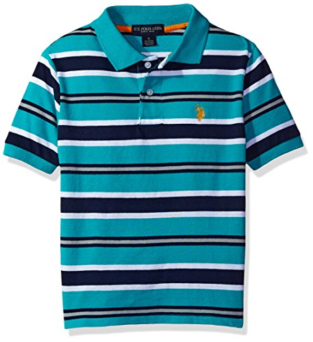 U.S. Polo Assn. Little Boys' Classic Striped Polo Shirt, Malibu Blue, (Classic Striped Striped Polo Shirt)