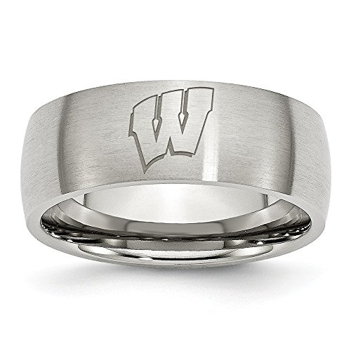 (Size 10 - Stainless Steel University of Wisconsin Laser Etch Ring (8mm))