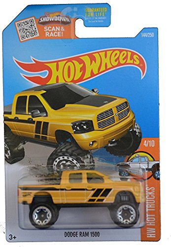 Hot Wheels, 2016 HW Hot Trucks, Dodge Ram 1500 [Dark Yellow] - Wheels Dodge Ram Hot