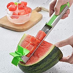 KitchenXOXO – 4 pcs Watermelon Cubes Slicer & Melon Baller & Carving Knife & Fruit Scoop Stainless Steel Set – Carving…