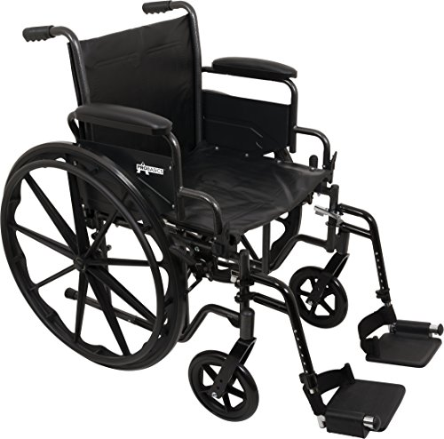 Blue 16in Seat (ProBasics Comfort Standard Wheelchair - Height Adjustable Seat - Flip Back Desk Arms - 300 Pound Weight Wapacity - Black - Swing-Away Footrest - 18