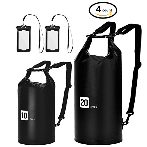 AiRunTech Waterproof Dry Bag, 10L + 20L Roll Top Compression Sack with phone dry bag Case and long adjustable Shoulder Strap Included for Outdoor Water Sports, Boating, Hiking (10L+20L without Window)