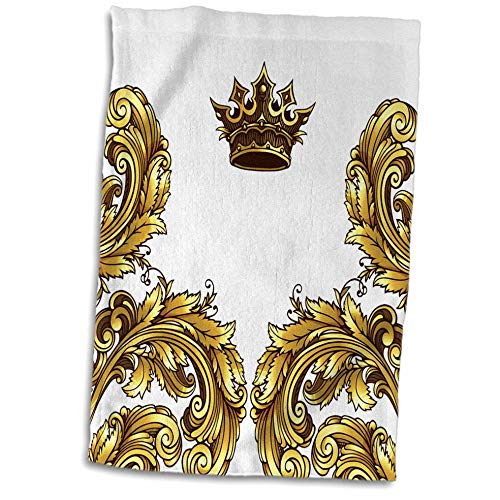 3dRose Anne Marie Baugh - Royal - Pretty Gold Royal Flourish Corners With A Crown - 15x22 Hand Towel (twl_255014_1)