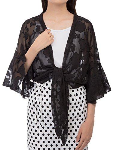 Kate Kasin Women's Casual Cropped Bolero Shrug 3/4 Sleeve Work Open Blazer Tops Size 2XL Black KK948-1 ()