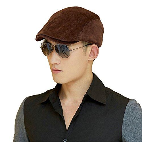 SIGGI Men Cotton Newsboy Driving Duckbill Ivy Cap Irish Cabbie Hat Winter Coffee (Brown Driving Cap)