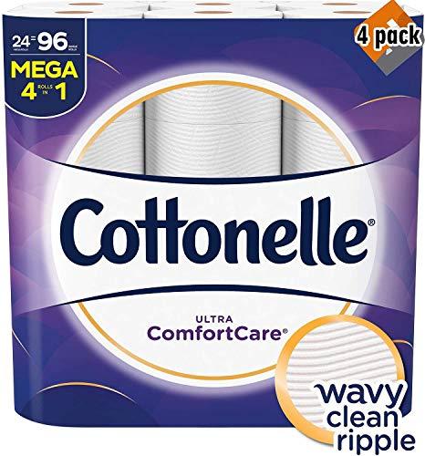 Cottonelle Ultra Comfortcare Toilet Paper, Soft Bath Tissue, Septic-Safe, 24 Mega Rolls,96 Count - 4 Pack