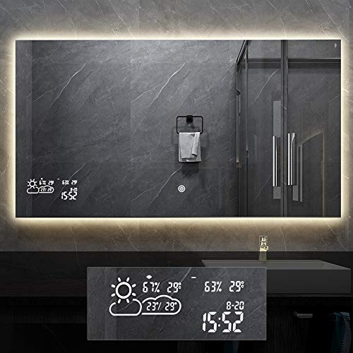BYECOLD Horizontal Vanity Bathroom Mirror for Wall with LED Backlit Light Touch -