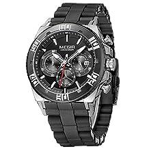 Megir Military Sport Fashion Casual Silicone Stainless Steel Quartz Wrist Watch