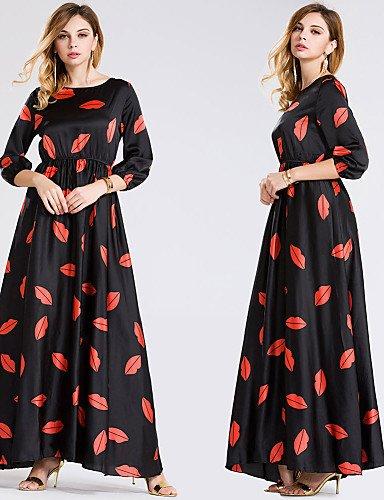 PU&PU Robe Aux femmes Swing Vintage,Imprimé Col Arrondi Maxi Polyester / Nylon / Spandex , black-m , black-m