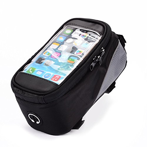 Black Bike Bicycle Handlebar Frame Pannier Front Top Tube Bag Pack Pouch for iPhone X / Samsung Galaxy S8 Active / BLU R2 / S1 / Google Pixel 2 / BLU Studio G3 / BLU Grand M2 / LG K20 V by eBuymore TM (Image #1)