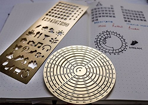 Premium Steel Metal Ruler Circle Stencil DIY Painting Letter Numbers Engraving Tool Template for Bullet Journal Adult Kids Calendar Notebook Planner Agenda Scrapbook Album Craft Supplies (Gold) by DHUNI (Image #2)