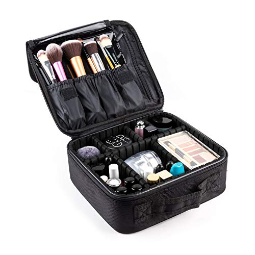AKIRO Makeup Train Case,Makeup Case Organizer Portable Artist Storage Bag for Cosmetics, Makeup Bag,Makeup Brush Set, Toiletry Bag And Travel Accessories Black