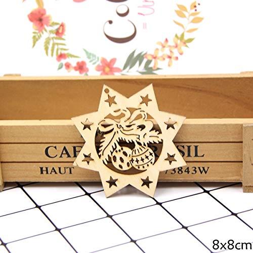 (VADOLY 10PCS DIY Natural Snowflakes Deer Shape Christmas Wooden Chip Hanging Ornaments Pendants Xmas Ornaments Kids Gifts Decorations)