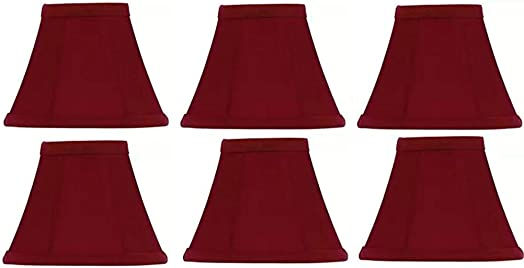 Upgradelights Red Silk 4 Inch Empire Clip on Chandelier Lampshade Set of 6 2.5x4x3.75