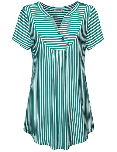 - JCZHWQU Short Sleeve Shirts for Women Ladies Henley V Neck Trendy Stripes Blouse Short Sleeve Curved Hemline Ultra Soft Material Fabulous Vintage Tunic Tops Green XL