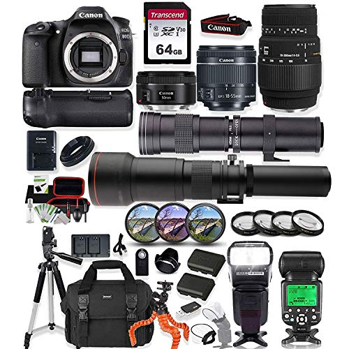 Canon EOS 80D DSLR Camera with 18-55mm Lens, 50mm f1.8 Lens & Sigma 70-300mm Lens + 420-800mm & 650-1300mm Telephoto Zoom Lenses Prime Accessory Bundle