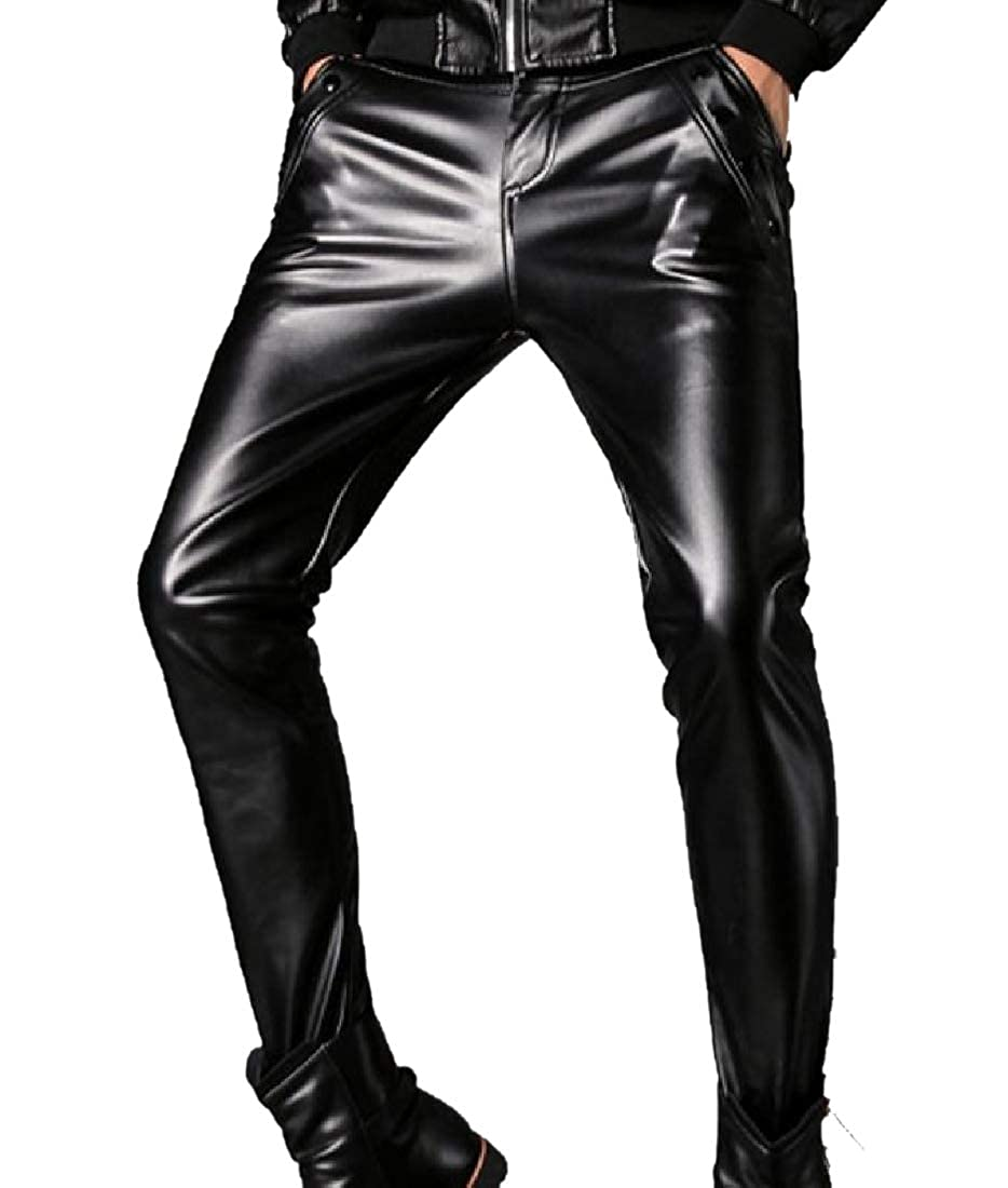 Coolred-Men Pull On Buttery Soft Racer Faux Leather Harem Pant