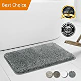 Walensee Bathroom Rug, Super Soft Microfiber Shaggy Bathroom Mat, Non-Slip, Water Absorbent, Washable Bath Rug and Bath Mat for Tub, Shower, Kitchen and Bath Room (16 x 24) (Grey)