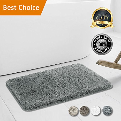 Walensee Bathroom Rug, Super Soft Microfiber Shaggy Bathroom Mat, Non-Slip, Water Absorbent, Washable Bath Rug and Bath Mat for Tub, Shower, Kitchen and Bath Room (16 x 24) (Grey) by Walensee