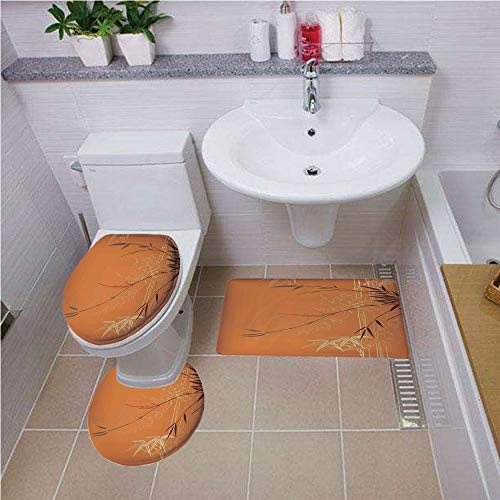 Bath mat Set Round-Shaped Toilet Mat Area Rug Toilet Lid Covers 3PCS,Bamboo,Bamboo Branches and Flowers Illustration in Vivid Color Eastern Nature Theme,Orange Gold Brown,Bath mat Set Round-Shaped to ()