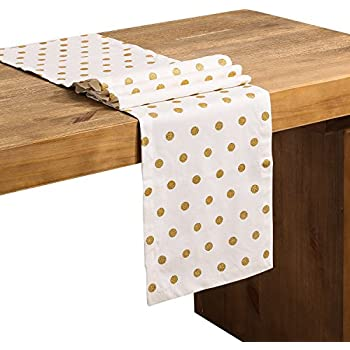 Ling's moment Golden Polka Dots Table Runner White Premium Cotton 12 x 72 Inch for Wedding Theme for Birthday Party Events Bridal Shower Baby Shower Decor