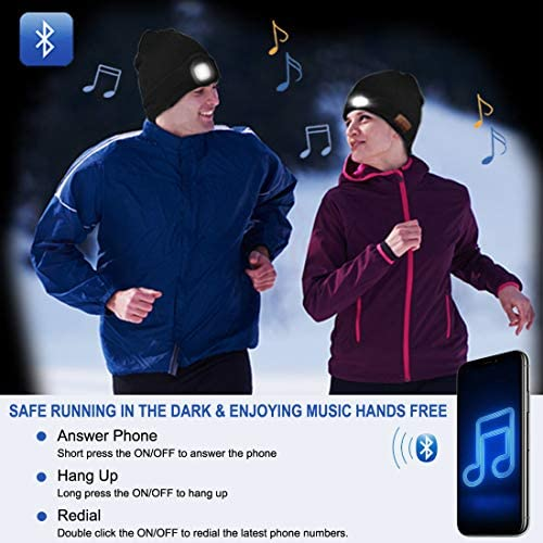 Bluetooth Beanie Hat LED Headphone Beanie, Unisex Wireless Beanie Headphone Knitted Lighted Beanie Hat Cap Unique Tech Gifts for Men Him Dads Women Boys and Girls
