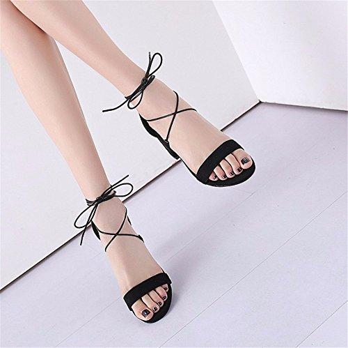 black de tamaño Sandals de áspero con sandals la verano El tobillo Suede mujer vendaje dO6qxnYw