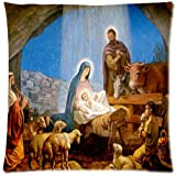 Christmas Nativity Holy Family, Tree--Three Wisemen Christmas Throw Pillow Case Cushion Covers Square 18x18 Inch (one side)