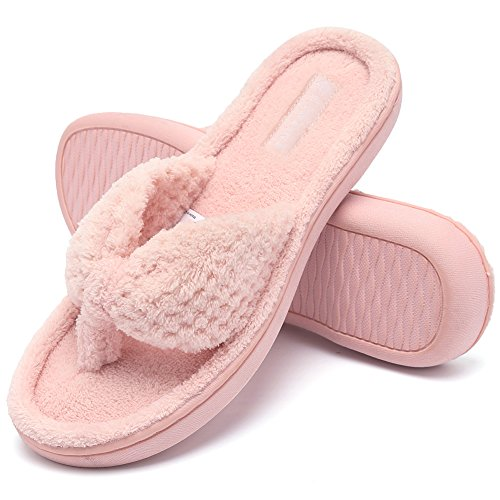 CIOR Fantiny Women's Cozy Memory Foam Spa Thong Flip Flops House Indoor Slippers Plush Gridding Velvet Lining Clog Style-U1MTW017-Pink-40-41