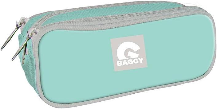 Baggy Estuche portatodo con Triple Bolsillo Cremallera Color Azul Celeste: Amazon.es: Juguetes y juegos