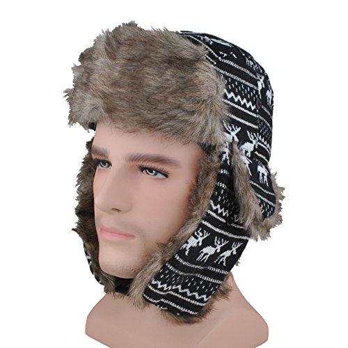 Headshion Faux Fur Trapper Hat Wool Blend Ushanka Russian Trooper Hat For Aviator Ski Hunting Flocked Top Hat