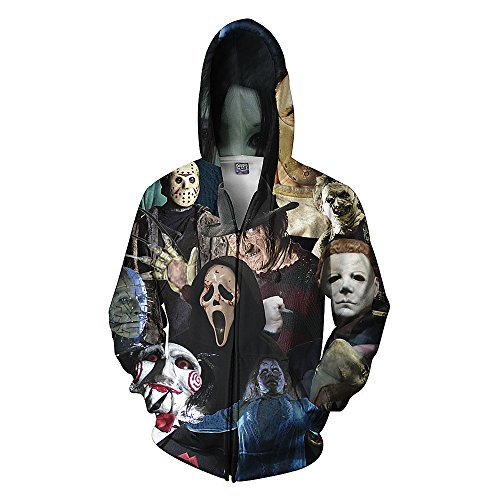 Men's Unisex Hoodies Sweatshirt Pullovers 3D Print Tracksuit Zip-up Jacket Skull XXL ()