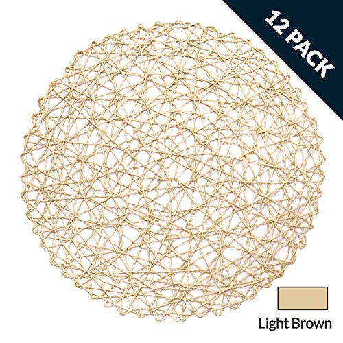 LuckyDream Round Paper Woven Placemats, 15-inch, Set of 12, Durable 100% Natural Paper Fiber, Decorative Rope Mesh Place Mats for Dining, Party and Wedding (Light Brown)
