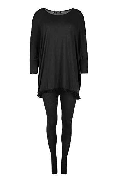 Amazon.com: Oops Outlet mujer Pom Pom Batwing Chándal ...