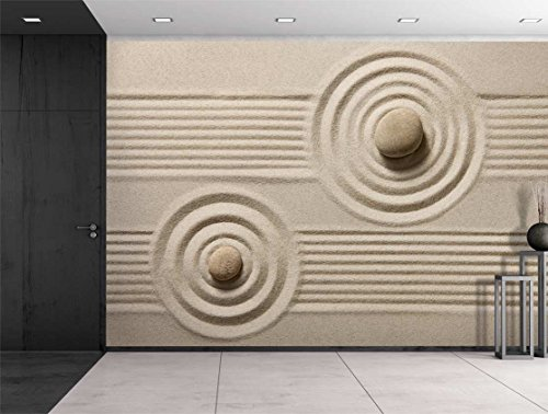Rocks Over a Rippled Sand Effect and Straight Lines Wall Mural