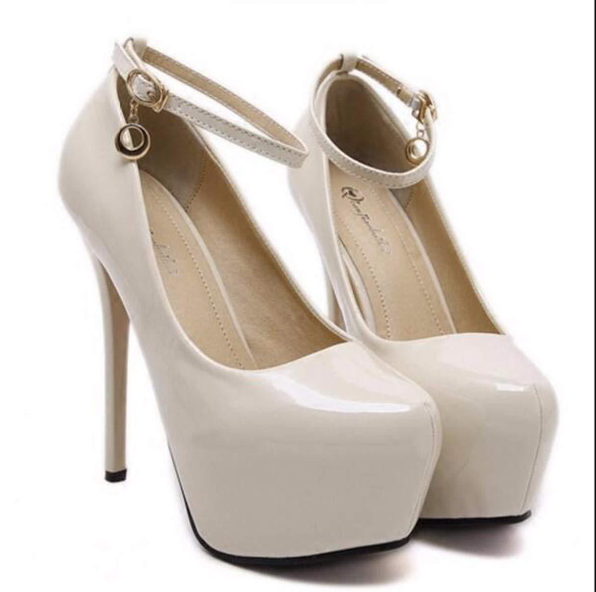 GTVERNH Damenschuhe Mode High - Heel und Dünne Sohle 14 cm Runden Kopf Einzelnen Schuh Am Mund Sexy Flach Schnalle Dicke Hintern Lack Damenschuhe.