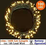 Fairy Lights 100 Warm White Christmas Tree Lights Indoor & Outdoor LED String Lights 10m/33ft Lit length - Battery Operated - 8 Functions - Ideal for Christmas Tree, Festive, Wedding/Birthday Party Decorations (100 LED 10m Green Cable)