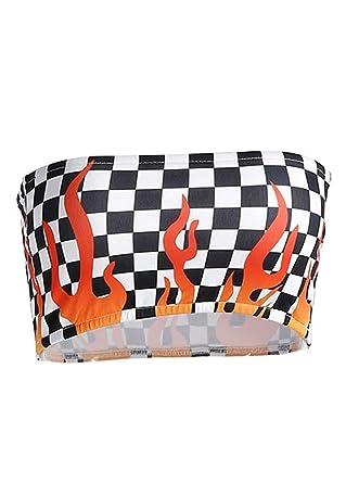 b80b266e20 Attitude Clothing Checkered Flame Bandeau Top S  Amazon.co.uk  Clothing