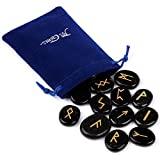 TGS Gems® Rune Stones Engraved Lettering Crystal Set w/ Free Pouch Wiccan Pagan Black Obsidian 28mm EN0482SY