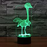 3D Illusion Lamp Gawell Ostrich Effect Night Light 7 Colors with Touch Switch USB Cable Nice Gift Home Office Decorations