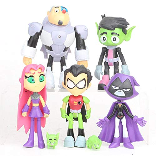 """Lalosliv 7 Pack 4"""" Tееn Titans Go Figures Set Cake Toppers Toys Playset"""