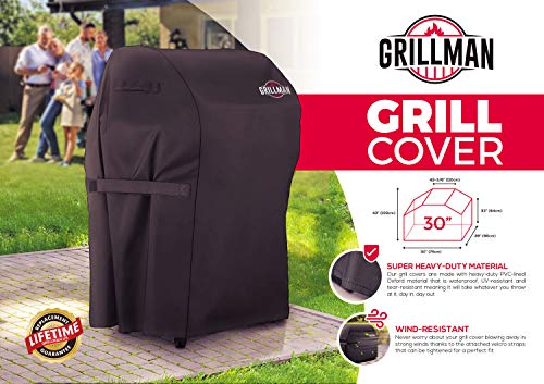 "Grillman Premium BBQ Grill Cover, Heavy-Duty Gas Grill Cover for Weber, Brinkmann, Char Broil etc. Rip-Proof, UV & Water-Resistant (30"" L x 26"" W x 43"" H)"