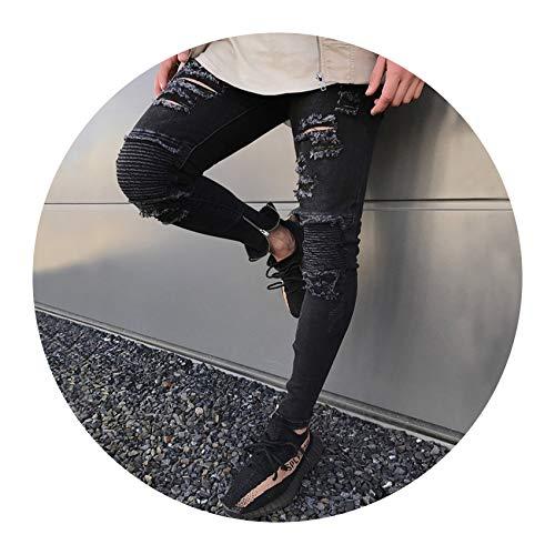 Acne Jeans Dress - Men Jeans Streetwear Skateboard Straight Pants Man Casual Elastic Jeans,H1858,30
