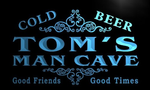 x0154-tm Tom's Man Cave Beer Ale Bar Custom Personalized Name Neon Sign