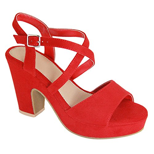 Women's Chunky Block Heel Sandals Cross Ankle Strap Open Toe Slingback Platform High Summer Shoes BIO10 Red 7.5 Womens Medium Heel Short