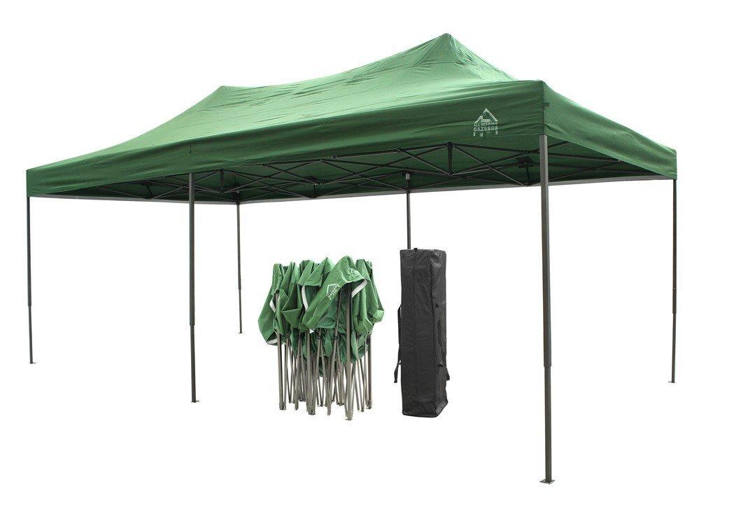 Qualit/à superiore verde Gazebo pieghevole da 3m x 6m completamente impermeabile 4 sacchetti di sabbia per il contrappeso da applicare ai piedi rivestimento in PVC in materiale resistente