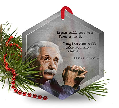 Albert Einstein - Famous Scientists Glass Christmas Ornament
