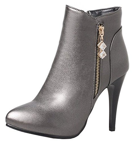 Easemax Toe Sexy Ankle Pointed Heel Up Boots Women's Stiletto High Gun High Zip Short UrXqUw